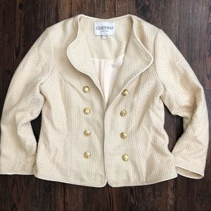 Elizabeth McKay Tweed Gold Button Blazer